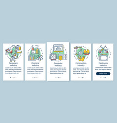 Secondary sector economy onboarding mobile app vector