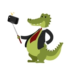 Selfie crocodile vector