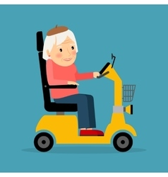 Senior woman on wheel electric scooter vector image