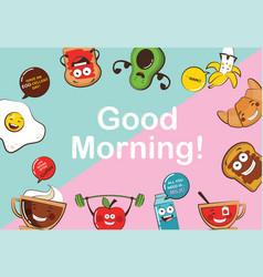 set funny breakfast food icons cartoon face vector image