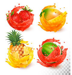 Set of fruit juice splash mango strawberry vector