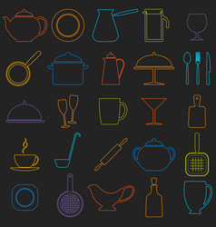 Set of linear icons of kitchen ware vector