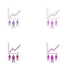 Set of stylish sticker on paper businessmen vector