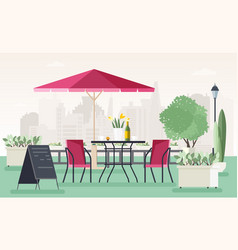 Sidewalk cafe or restaurant with table chairs vector