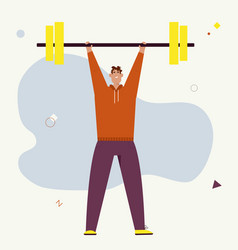 smiling sportsman lifted barbell weight vector image