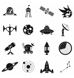 Space simple icons set vector image