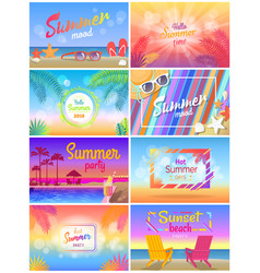 Summer mood beach party time hello sunny day vector