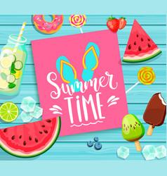 summer time lettering on blue wooden background vector image