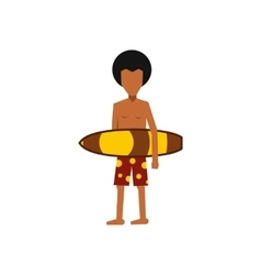 Surfer man holding yellow surfboard icon vector image