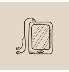 Tablet with headphones sketch icon vector image