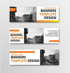 templates of horizontal white banners with orange vector image