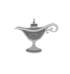 Traditional old arabic genie oil lamp hand vector