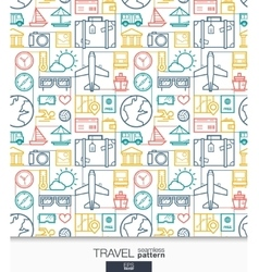 Travel wallpaper Trip connected seamless pattern vector