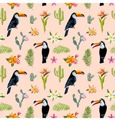 Tropical Background Toucan Bird Cactus vector image