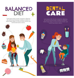 Vertical pediatric dentistry banner set vector