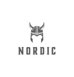viking armor helmet logo design for boat ship cr vector image