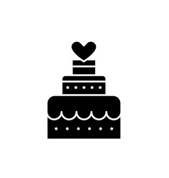 wedding cake black icon sign on isolated vector image