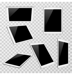 White tablet at different angles of view vector image