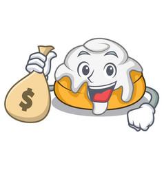 With money bag cinnamon roll character cartoon vector