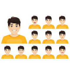 young asian man expression set vector image