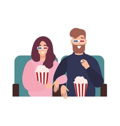 Young man and woman in 3d glasses watching film vector