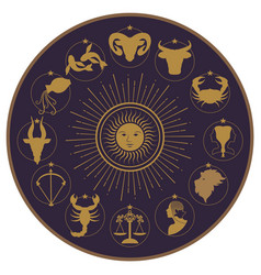 zodiac wheel on starry sky sun moon and stars vector image