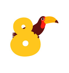 funny cute toucan bird and number eight birthday vector image
