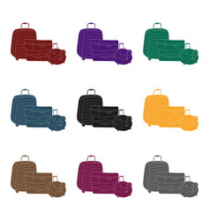 luggage icon in black style isolated on white vector image vector image