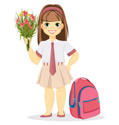 schoolgirl with backpack and bouquet of flowers vector image vector image