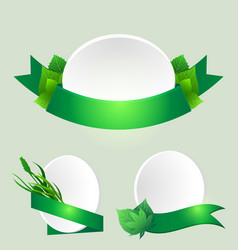set of green ribbons with leaves element for vector image vector image