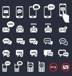 sms and mail icons smartphone and speech bubbles vector image