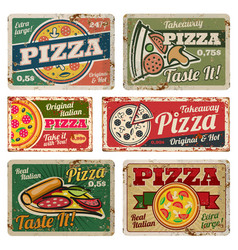 vintage pizza metal signs with grunge texture vector image