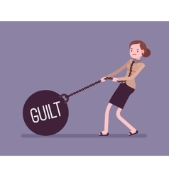 Businesswoman dragging a weight Guilt on chain vector image