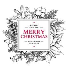 Christmas wreath frame hand drawn vector