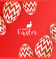 easter eggs on red background vector image