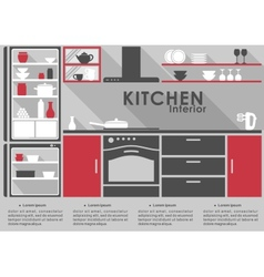 Kitchen Interior flat design with long shadows vector image vector image