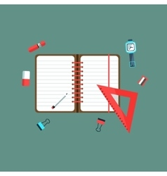 Studying utilities on the desk vector