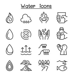 water icon set in thin line style vector image vector image