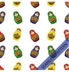 seamless pattern with russian dolls vector image
