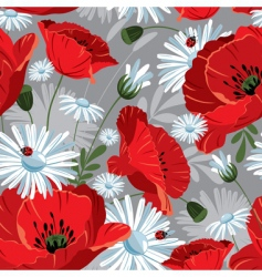 seamless with with poppies vector image