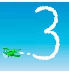 The plane draws a number in the sky Three vector image vector image