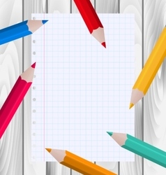 Colorful pencils with paper sheet vector