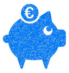euro piggy bank grunge icon vector image vector image