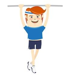 Hipster funny sportsman hanging on horizontal bar vector image