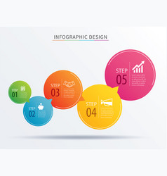infographics circle number 5 step template vector image