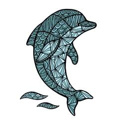 Stylized Dolphin zentangle isolated on vector image vector image