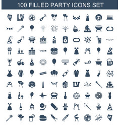 100 party icons vector