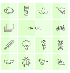 14 nature icons vector image