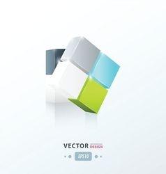 3D Cube twist green blue gray color vector image