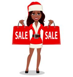 African-american woman in santa claus costume vector